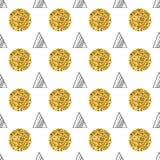 Driehoeken en gouden cirkels, lovertjes Naadloos patroon Geometrische, abstracte achtergrond Krabbelvormen Stock Foto's