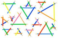Driehoeken, van kleurpotloden worden gecreeerd dat stock foto's