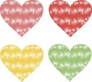 Driehoekenharten, roze, rood, geel en groen op een witte achtergrond, gradiënt, ontwerpelementen Royalty-vrije Stock Foto