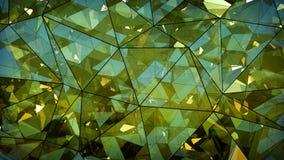 Driehoekige multilayered groene glasbouw abstract 3D r Stock Foto