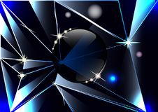 Driehoekige scherven van donker glas, Prisma's, glasbal, abstracte achtergrond vector illustratie
