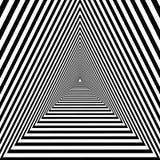 Driehoekige tunnel, zwart-witte geometrische psychedelische optisch vector illustratie