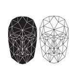 Driehoeks abstract menselijk gezicht, vooraanzicht Vector illustratie Stock Afbeeldingen