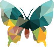 Driehoeks veelhoekig silhouet van vlinder Stock Afbeelding