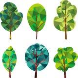 Driehoeks veelhoekige silhouetten van bomen Royalty-vrije Stock Foto's