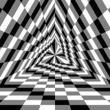 Driehoekskloof Zwart-wit Rechthoeken die zich van het Centrum uitbreiden Optische illusie van Volume en Diepte stock illustratie