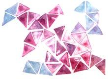 Driehoekswaterverf die purper roze blauw stempelen Royalty-vrije Stock Afbeeldingen