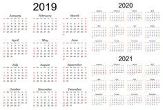 Driejarige vectorkalender - 2019, 2020 en 2021 stock foto
