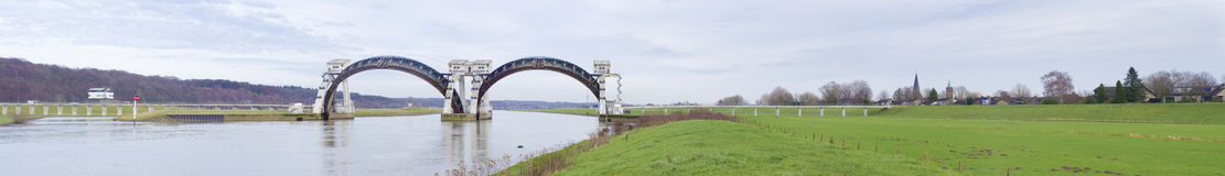 Driel weir in the Netherlands. Panoramic view of the Driel Weir in the Netherlands. It makes part of the weir complex Amerongen, consisting of locks, a weir and stock photo