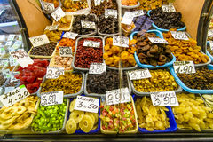 Dries fruit on the market stand, stall, visible prices. Royalty Free Stock Image