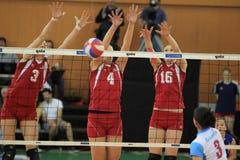 Drievoudig blok - Tsjechisch volleyball extraleague Stock Afbeeldingen
