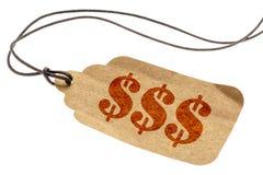 Drievoudig dollarteken - prijskaartje Stock Foto's