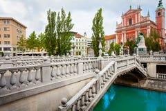Drievoudige brug in Ljubljana Stock Fotografie