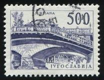 Drievoudige brug in Ljubljana Royalty-vrije Stock Foto's