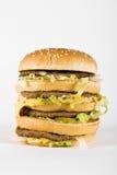 Drievoudige cheeseburger Royalty-vrije Stock Afbeelding