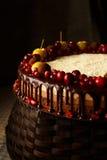 Drievoudige die chocoladecake met granaatappel, Amerikaanse veenbessen en kleine appelen wordt verfraaid Stock Afbeeldingen