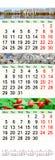 Drievoudige kalender voor April May en Juni 2017 met beelden Royalty-vrije Stock Foto