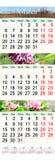 Drievoudige kalender voor Maart April en Mei 2017 met de lentebeelden Stock Afbeeldingen