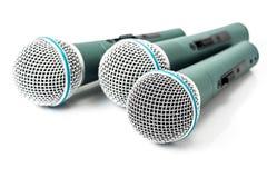 Drievoudige microfoon Stock Afbeeldingen