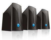 Drievoudige zwarte servercomputer Royalty-vrije Stock Foto's