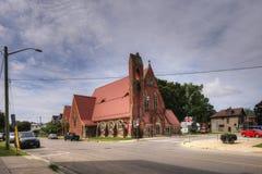 Drievuldigheids Anglicaanse Kerk in Simcoe, Ontario, Canada royalty-vrije stock afbeelding