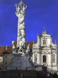 Drievuldigheidskolom en franciscionkerk St Pölten Royalty-vrije Stock Afbeelding