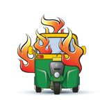 Driewieler met brand vectortekening stock illustratie