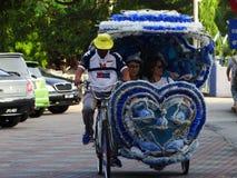 Driewielers op historisch centrum van Melaka, Maleisië stock foto