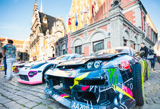 Drift Allstars parade on Hall square on July 31, 2015, Riga, Latvia. Drivers of Drift Allstars GP Rond 3 are showing their cars on Hall Square after street royalty free stock photo