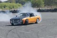 Drift car. Picture of drift competition at napierville dragway in canada Royalty Free Stock Image