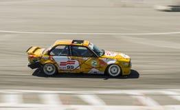Drift car brand BMW overcome turn track Royalty Free Stock Photo