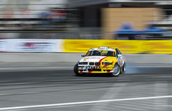 Drift car brand BMW overcome turn track Royalty Free Stock Images