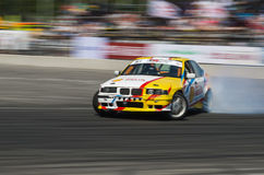 Drift car brand BMW overcome turn track Stock Photo