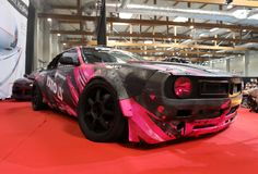 Drift car displayed at  MOTO SHOW in Cracow Poland. Exhibitors present  most interesting aspects of the automotive industry Royalty Free Stock Photography