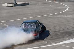 Drift car. Overcomes the track royalty free stock image