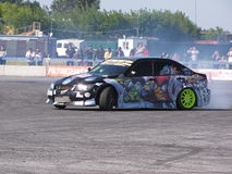 Drift Car. Drift Race in Siberian Airport Severnii Stock Photography