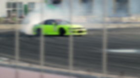 Drift car racing on the asphalt track. A lot of smoke. Blur. stock video