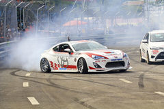 Drift car show. CHIANGMAI, THAILAND - OCTOBER 20 : Kiki Saknana drift car show in competition round 3 Toyota championship of Thailand, on Oct 20, 2013 at Sport stock photo