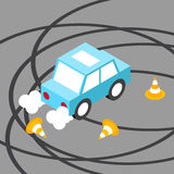Drift car traffic cone isometric Royalty Free Stock Images