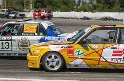 Drift cars  brand BMW overcome turn track Stock Photo
