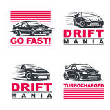 Drift cars set. Set of four sport cars logo, badge illustration on white background.Drift, Drag racing, Tuning, Motor Sport. EPS 10 vector illustration
