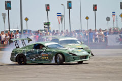 Drift cars team Round-X enters the bend with slip Stock Image