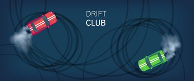 Drift club poster or web banner. Sport car drifting on race track. Motorsport competition. Top view flat style vector. Drift club poster or web banner. Sport car vector illustration