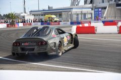 Sport car drift in front of the audience. stock photos