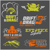 Drift, Drag racing, Tuning, Motor Sport - Set of  cars logo Stock Photography