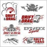 Drift, Drag racing, Tuning, Motor Sport - Set of  cars logo Stock Photos