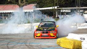 Drift exhibition of a sports car Royalty Free Stock Photo