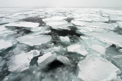 Drift Ice of Okhotsk Sea in Hokkaido, Japan Stock Photos