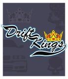 Drift Kings. Emblem of the kings of drift racing vector illustration