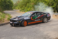 Drift racing car Ford Mustang stock image